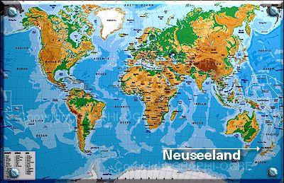 Neuseeland entdecken - Lage Neuseelands auf einer Weltkarte